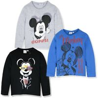 Official Disney Mickey Mouse Boys Long Sleeve Top T-Shirt 100% Cotton 2-8 years