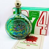 1974 Carnival Glass Christmas Decanter Poinsettia Legend Green Wheaton Glass 9""