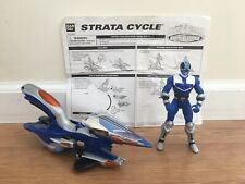 Power Rangers Blue Strata Cycle & Power Ranger Flight & Cycle Mode 2001 Bandai