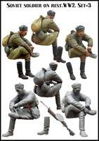 1/35 Sitting Soviet Soldier WW2 Figure Unpainted Unassembled Resin Kit V3