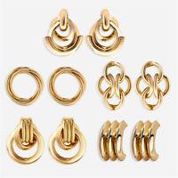 Punk Women Men's Knot Metal Earrings Boys Ear Stud Doulbe Cross Ring Jewelry