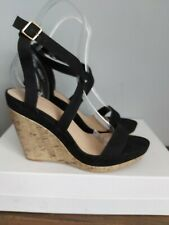 Black Wedge Sandal Cork Heel Cross Over Straps Size UK 7 EU 41 BNWOB New Look