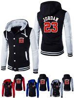 NEW Michael Jordan 23 Baseball Jacket Mens Hooded Button Men Coat Hoodie Outwear