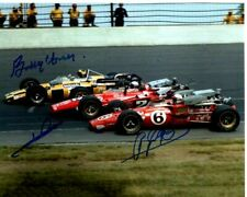 BOBBY UNSER, MARIO ANDRETTI and A.J. FOYT signed autographed INDY 500 photo