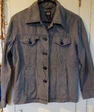Dockers Womens Cotton Size MP Spacedye Gray Button Jacket Long Sleeve Coat
