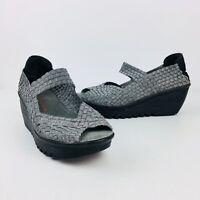Bernie Mev Womens Metallic Silver Woven Stretch Wedge Sandal Mary Jane Heels 39