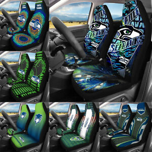 Set of Two Seattle Seahawks Car Front Seat Covers Universal Cushion Protectors