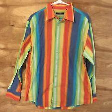 Cezani Men's large rainbow stripe cotton long sleeve button down shirt