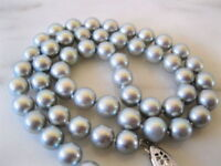 AAA Natural Tahitian 9-10mm Gray Pearl Necklace 18 Inch 14K White Gold