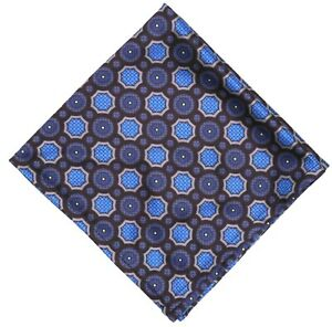 Wurkin Stiffs Mens Blue Multicolor Geometric Microfiber Pocket Square 5313