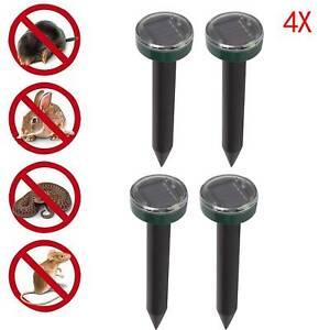 4X Mole Rat Repellent Solar Ultrasonic Repeller Spike Garden Pest Deterrent