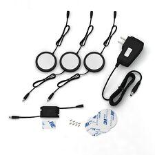 EShine Black Matte LED Puck Lights with Hand Wave Sensor, Pack of 3 – Cool White