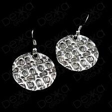 Ottoman Turkish Ethnic Tribal Gypsy Boho Silver Disc Circle Coin Drop Earrings