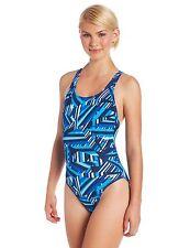 NEW Speedo Size 2 28 ATHLETIC Swimsuit RACING Blue White $82 Retail