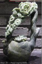 China Natural Dushan Stone Jade Peony Flower Chrysanthemum Art Sculpture Teapot