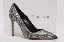 MANOLO BLAHNIK BB 105 SILVER BLACK POINTED TOE  PUMP SHOE 36.5/6 $695