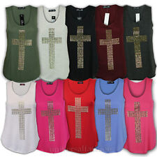 Ladies Vest Womens Top Cross Print Gold Studded T Shirt Tank Stretch Sleeveless
