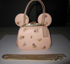 DISNEY X COACH 2018 KISSLOCK FLORAL MIXED PRINT PINK BAG MINNIE MOUSE EARS