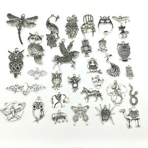 Lot Vintage Tibet Silver Animal Dragonfly Peacock Pendant Charms Jewelry Finding
