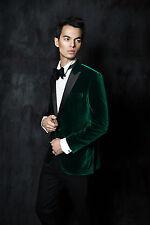 Hombre Elegante Boda Novio Diseñador Verde Chaqueta de Fumar Ropa Fiesta Blazers