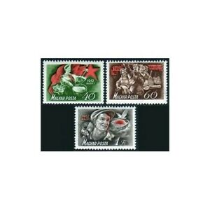 Hungary 997-999,hinged.Mi 1244-1246. Labor Day May 1,1952.Drummer,dove,soldier,