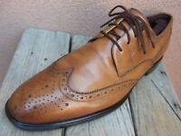 GORDON RUSH Mens Dress Shoes Cognac Brown Leather Wingtip Lace Up Oxford Size 11