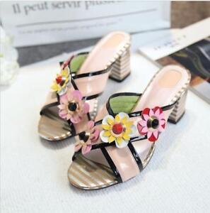 Womens Block High Heels Mules Summer Flowers Open Toe Slippers Sandals Boho Chic