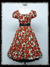 dress190 RED/WHITE FLORAL 50s CAP SLEEVE ROCKABILLY COCKTAIL PARTY DRESS 14-16