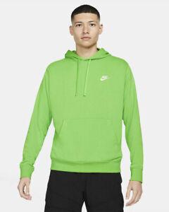 Nike Felpa Cappuccio Hoodie Verde Fluo Cotone 2021 NSW Club HD PO FT con tasch