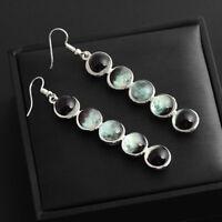 Ethnic Glow In the Dark Glass Dome Moon Phase Earrings Moonstone Dangle Earrings