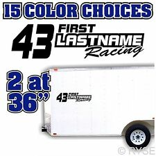"""2 @ 36"""" Name Number Race Trailer Decal Team Car IMCA Model Sprint Stock Modified"""