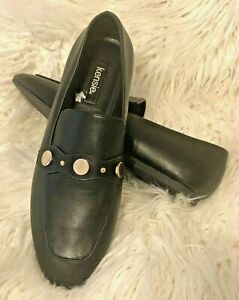 Kensie Reed Black Ballet Casual Career Flats Gold Tone Accents Size 8.5M NWOT