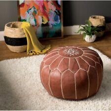 Moroccan Ottoman Pouf - Handmade Brown Pouf - Genuine Leather Pouffe - Unstuffed