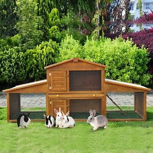 Small Animal Deluxe Xxl Fir Wood 2-tier Hutch Natural Tone Water-resistant Top