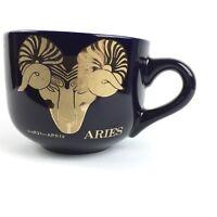 Zodiac Aries Mug Cobalt Blue Gold Metallic Ram Coffee Tea Soup  Cup Extra Large