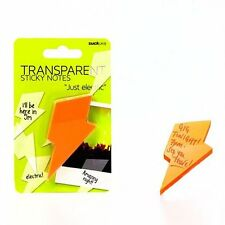 SUCK UK Transparent Sticky Notes - Orange Lightning Bolts