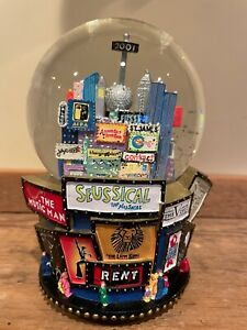 """2001 New York City Broadway Musicals Twin Towers Snow Globe 7"""" Tall"""