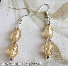 Pretty Cream Nude Crackle Glass Beads Dangle Pierced Earrings