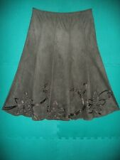 Ladies Size 14L Khaki Appliqued Suede Effect Flared Calf Length Skirt by Per Una