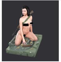 1/16 Resin Figure Model Kit Sexy Girl Female Kneeling Position WWII Unpainted