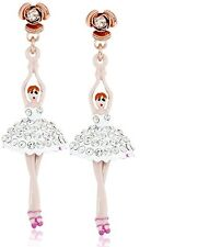 NEW BETSEY JOHNSON ROSE GOLD+WHITE CRYSTAL PAVE BALLERINA CRYSTAL DROP EARRINGS