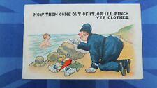 Vintage Comic Postcard 1910s HAT PIN Bloomers Swimming Police Theme