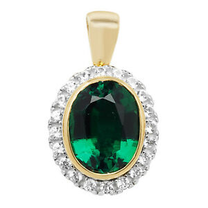 Classical 9ct Gold Ladies Pendant with Cultured Emerald, Cultured Sapphire