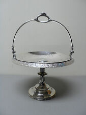 WONDERFUL ANTIQUE ROGERS SILVER PLATE SWING HANDLE PEDESTAL CAKE STAND