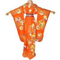 Japanese Vintage silk Orange & Purple Flower Furisode Kimono /Silk Belt