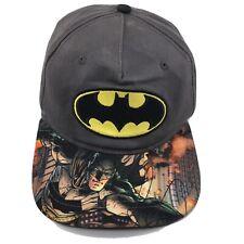 Dc Comics Batman Youth Sublimated Flat Bill Hat Cap Snapback Gray Super Hero