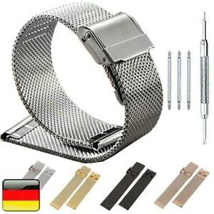 14-22mm Uhrenarmband Loop Mesh Metall Edelstahl Ersatzarmband Watch Strap Silber