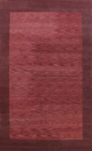 Contemporary Bordered Abstract Oriental Area Rug Modern Hand-Tufted Wool 9x12 ft