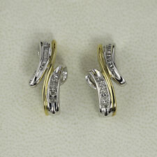 Diamond Earrings - 0.20ctw -  14K Two-Tone Yellow and White Gold