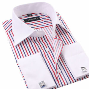 Mens Dress Shirts The White Collar Luxury Slim Fit French Cuff Formal Shirts Top